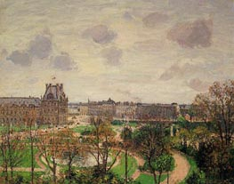 Garden of the Louvre - Morning, Grey Weather | Pissarro | Painting Reproduction