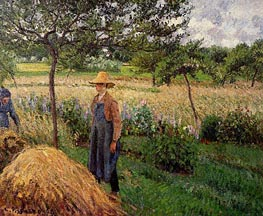 Grey Weather, Morning with Figures, Eragny, 1899 by Pissarro | Painting Reproduction