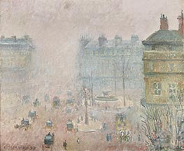 Place du Theatre Francais - Foggy Weather, 1898 by Pissarro | Painting Reproduction