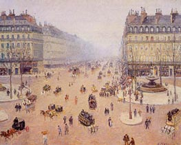Avenue de l'Opera, Place du Theatre Francais, 1898 by Pissarro | Painting Reproduction