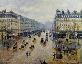 Avenue de l'Opera - Rain Effect, 1898 by Pissarro | Painting Reproduction