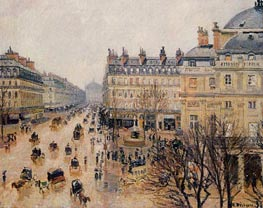 Place du Theatre Francais - Rain Effect, 1898 by Pissarro | Painting Reproduction