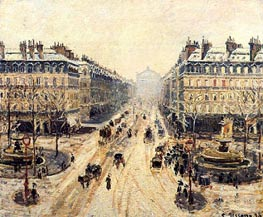 Avenue de l'Opera, Snow Effect, 1898 by Pissarro | Painting Reproduction