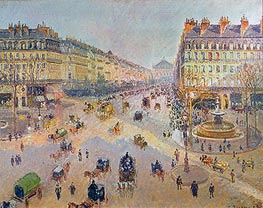 Avenue de l'Opera - Sunshine, Winter Morning, 1898 by Pissarro | Painting Reproduction