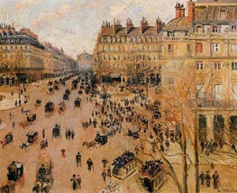 Place du Theatre Francais - Sun Effect | Pissarro | Painting Reproduction