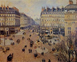Place du Theatre Francais - Afternoon Sun, Winter, 1898 by Pissarro | Painting Reproduction