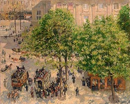 Place du Theatre-Francais. Spring, 1898 by Pissarro | Painting Reproduction