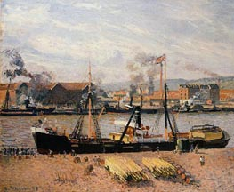 The Port of Rouen - Unloading Wood, 1898 by Pissarro | Painting Reproduction