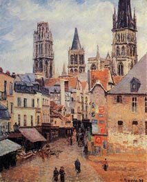 Rue de l'Epppicerie, Rouen - Morning, Grey Weather | Pissarro | Gemälde Reproduktion