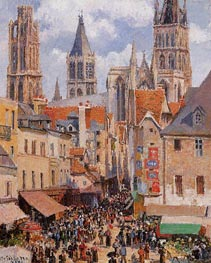 Rue de l'Epicerie, Rouen (Effect of Sunlight) | Pissarro | Painting Reproduction