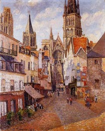 Sunlight, Afternoon, La Rue de l'Epicerie a Rouen, 1898 by Pissarro | Painting Reproduction