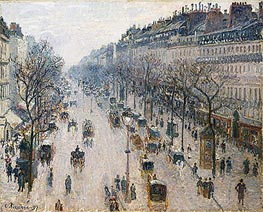 The Boulevard Montmartre on a Winter Morning, 1897 by Pissarro | Painting Reproduction