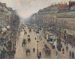 Boulevard Montmartre, Morning, Cloudy Weather, 1897 by Pissarro | Painting Reproduction