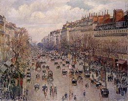 Boulevard Montmartre - Afternoon, Sunshine | Pissarro | Painting Reproduction
