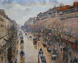 The Boulevard Montmartre, Afternoon, in the Rain, 1897 by Pissarro | Painting Reproduction