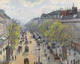 Boulevard Montmartre - Spring, 1897 by Pissarro | Painting Reproduction