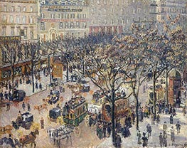 Boulevard des Italiens - Morning, Sunlight | Pissarro | Painting Reproduction