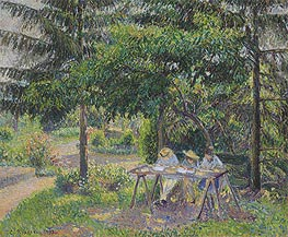Children in a Garden at Eragny, 1892 von Pissarro | Gemälde-Reproduktion
