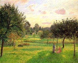 Two Women in a Meadow: Sunset at Eragny | Pissarro | Gemälde Reproduktion