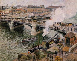 The Boieldiu Bridge, Rouen - Damp Weather | Pissarro | Painting Reproduction