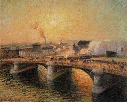 The Boieldieu Bridge, Rouen - Sunset | Pissarro | Painting Reproduction
