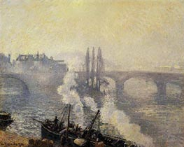 The Corneille Bridge, Rouen, Morning Mist | Pissarro | Gemälde Reproduktion