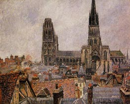 The Roofs of Old Rouen - Grey Weather, Cathedral | Pissarro | Painting Reproduction
