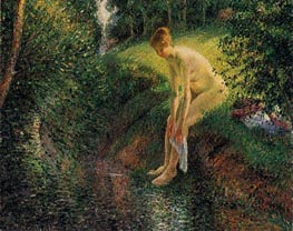 Bather in the Woods, 1895 von Pissarro | Gemälde-Reproduktion