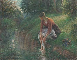 Young Woman Bathing Her Feet | Pissarro | Painting Reproduction