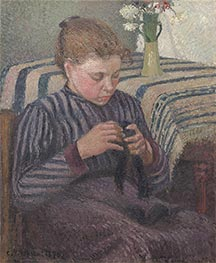 Young Girl Mending Her Stockings | Pissarro | Painting Reproduction