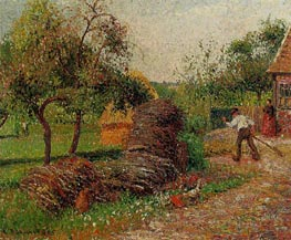 Mother Lucien's Yard, Eragny, 1895 by Pissarro | Painting Reproduction