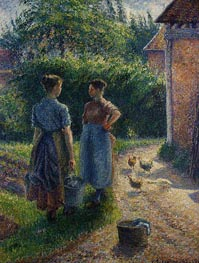 Peasants Chatting in the Farmyard, Eragny, 1895 by Pissarro | Painting Reproduction
