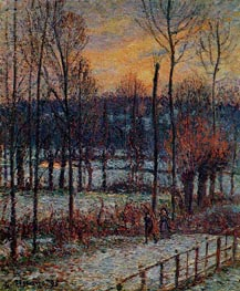 The Effect of Snow, Sunset, Eragny, 1895 by Pissarro | Painting Reproduction