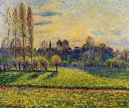 View of Bazincourt, Sunset, 1892 by Pissarro | Painting Reproduction
