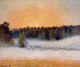 Setting Sun and Fog, Eragny | Pissarro | Gemälde Reproduktion