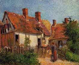 Old Houses at Eragny, 1884 von Pissarro | Gemälde-Reproduktion