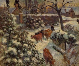 Snow Effect in Montfoucault | Pissarro | Painting Reproduction