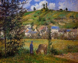 Landscape at Chaponval, 1880 by Pissarro | Painting Reproduction