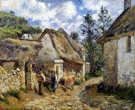 A Street in Auvers (Thatched Cottages and a Cow), 1880 von Pissarro | Gemälde-Reproduktion