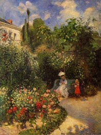 The Garden at Pontoise, 1877 by Pissarro | Painting Reproduction