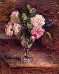 Roses in a Glass, 1877 by Pissarro | Painting Reproduction