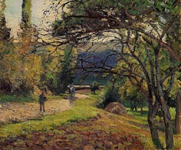 Landscape in the Woods, Pontoise, 1875 by Pissarro | Painting Reproduction