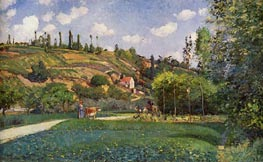 A Cowherd at Valhermeil, Auvers-sur-Oise, 1874 by Pissarro | Painting Reproduction
