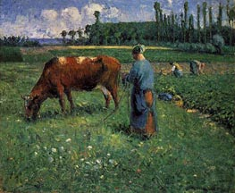 Girl Tending a Cow in a Pasture, 1874 by Pissarro | Painting Reproduction