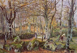 Landscape with Rocks, Montfoucault, 1874 by Pissarro | Painting Reproduction
