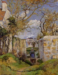 Peasant Pushing a Wheelbarrow, Maison Rondest | Pissarro | Gemälde Reproduktion