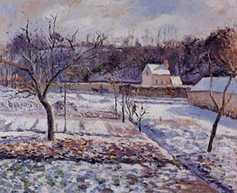 L'Hermitage, Pontoise, Snow Effect | Pissarro | Painting Reproduction