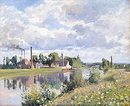 The Oise on the Outskirts of Pontoise, 1873 by Pissarro | Painting Reproduction