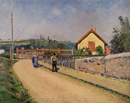 The Railroad Crossing at Les Patis, c.1873/74 by Pissarro | Painting Reproduction