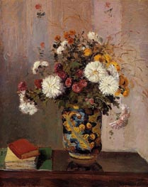 Bouquet of Flowers, Chrysanthemums in a Chinese Vase, c.1873 by Pissarro | Painting Reproduction